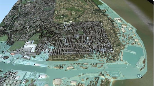 An aerial image of Lowestoft showing the area at risk of tidal flooding